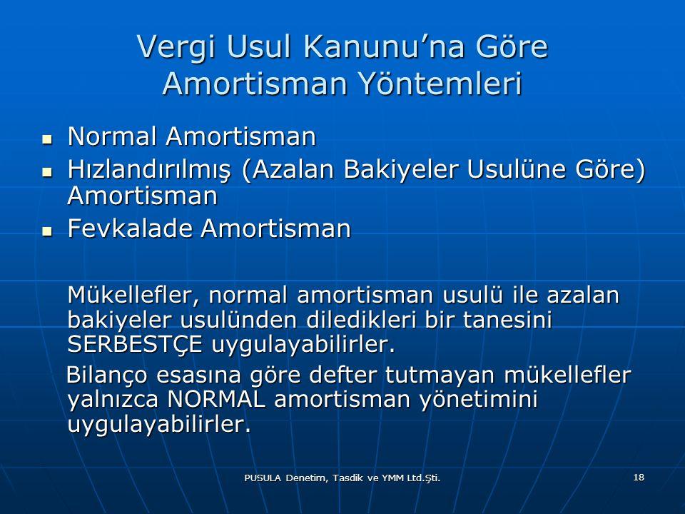 PUSULA Denetim, Tasdik ve YMM Ltd.Şti. 18 Vergi Usul Kanunu'na Göre Amortisman Yöntemleri  Normal Amortisman  Hızlandırılmış (Azalan Bakiyeler Usulü