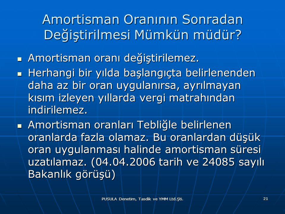PUSULA Denetim, Tasdik ve YMM Ltd.Şti. 21 Amortisman Oranının Sonradan Değiştirilmesi Mümkün müdür?  Amortisman oranı değiştirilemez.  Herhangi bir