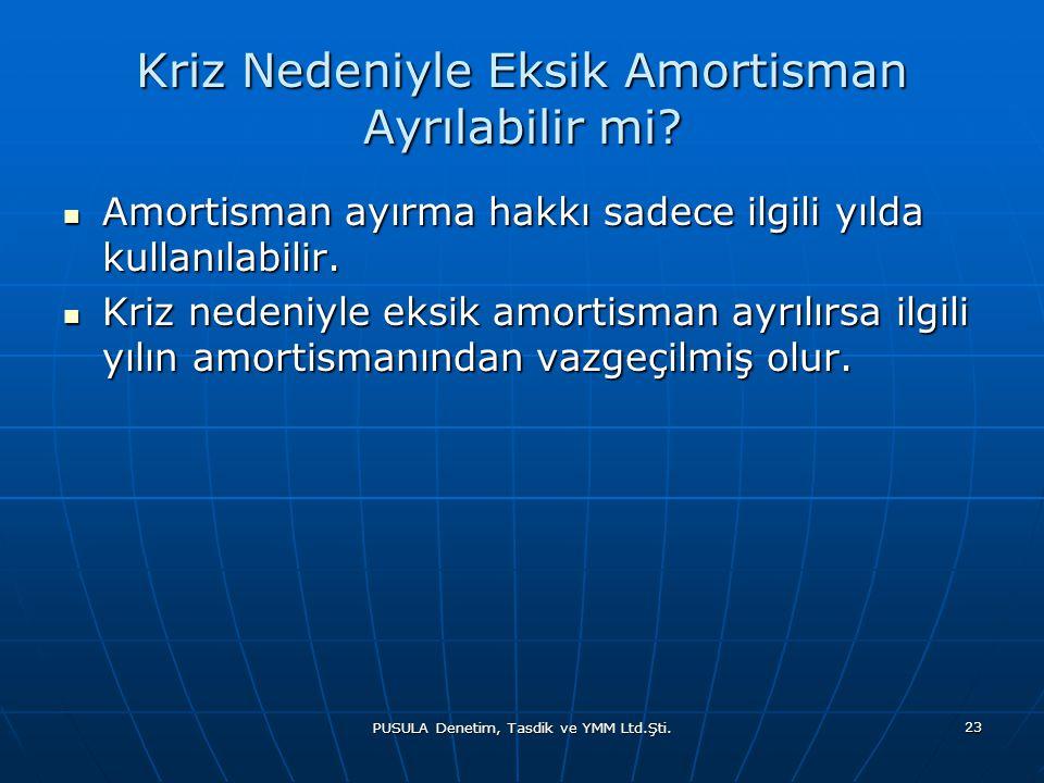 PUSULA Denetim, Tasdik ve YMM Ltd.Şti. 23 Kriz Nedeniyle Eksik Amortisman Ayrılabilir mi?  Amortisman ayırma hakkı sadece ilgili yılda kullanılabilir