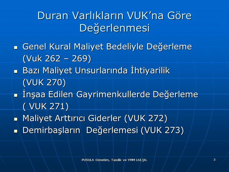 PUSULA Denetim, Tasdik ve YMM Ltd.Şti. 3 Duran Varlıkların VUK'na Göre Değerlenmesi  Genel Kural Maliyet Bedeliyle Değerleme (Vuk 262 – 269) (Vuk 262