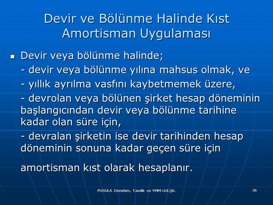 PUSULA Denetim, Tasdik ve YMM Ltd.Şti. 36 Devir ve Bölünme Halinde Kıst Amortisman Uygulaması  Devir veya bölünme halinde; - devir veya bölünme yılın