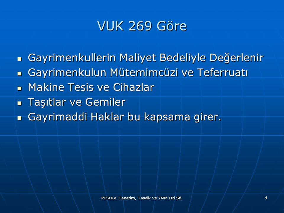 PUSULA Denetim, Tasdik ve YMM Ltd.Şti. 4 VUK 269 Göre  Gayrimenkullerin Maliyet Bedeliyle Değerlenir  Gayrimenkulun Mütemimcüzi ve Teferruatı  Maki