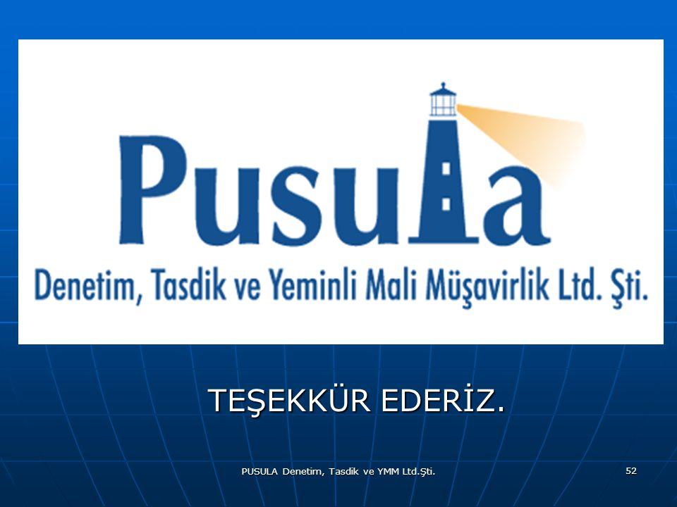 PUSULA Denetim, Tasdik ve YMM Ltd.Şti. 52 TEŞEKKÜR EDERİZ. TEŞEKKÜR EDERİZ.