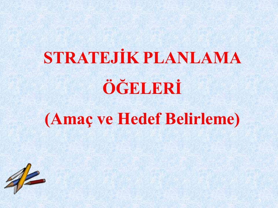 2 Stratejik amaçlar belirli bir zaman diliminde kuruluşun ulaşmayı hedeflediği kavramsal sonuçlardır.