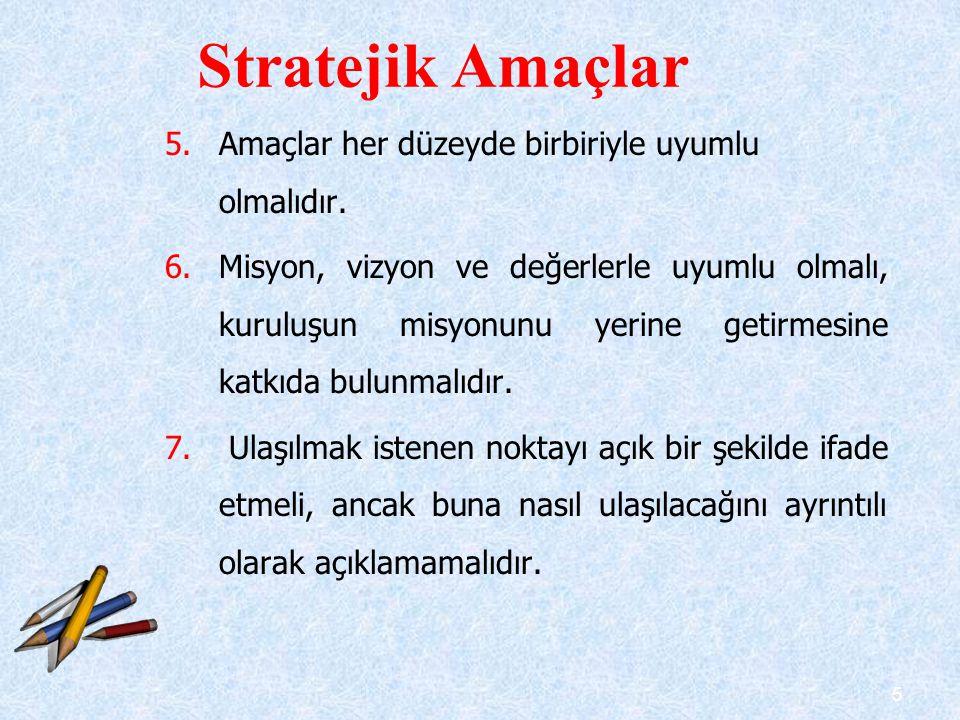 6 8.Stratejik planlama sürecinin daha sonraki aşamaları için bir çerçeve sunmalıdır.