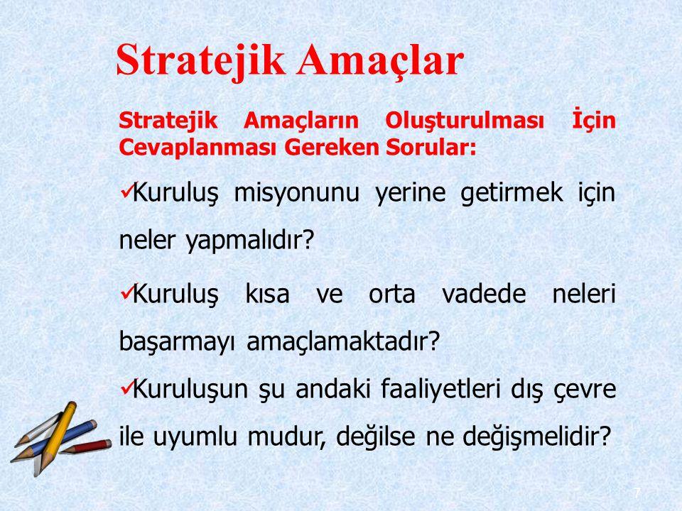 7 Stratejik Amaçların Oluşturulması İçin Cevaplanması Gereken Sorular:  Kuruluş misyonunu yerine getirmek için neler yapmalıdır?  Kuruluş kısa ve or