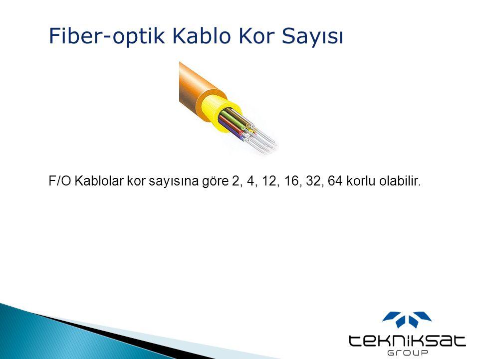 Fiber-optik Kablo Kor Sayısı F/O Kablolar kor sayısına göre 2, 4, 12, 16, 32, 64 korlu olabilir.