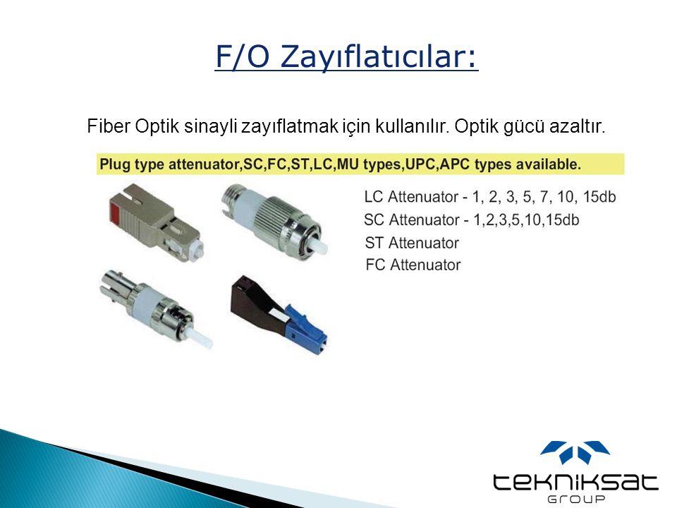 F/O Zayıflatıcılar: Fiber Optik sinayli zayıflatmak için kullanılır. Optik gücü azaltır.