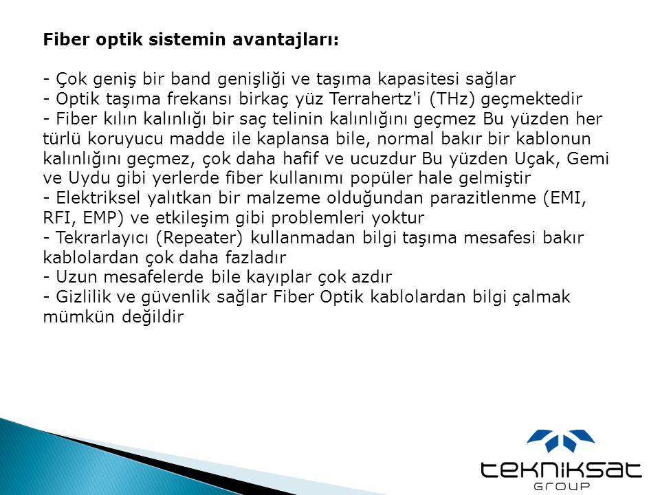 Fiber optik sistemin avantajları: - Çok geniş bir band genişliği ve taşıma kapasitesi sağlar - Optik taşıma frekansı birkaç yüz Terrahertz'i (THz) geç