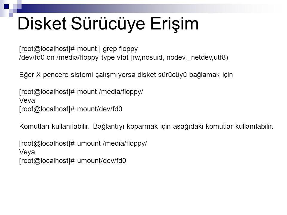 Disket Sürücüye Erişim [root@localhost]# mount | grep floppy /dev/fd0 on /media/floppy type vfat [rw,nosuid, nodev,_netdev,utf8) Eğer X pencere sistemi çalışmıyorsa disket sürücüyü bağlamak için [root@localhost]# mount /media/floppy/ Veya [root@localhost]# mount/dev/fd0 Komutları kullanılabilir.