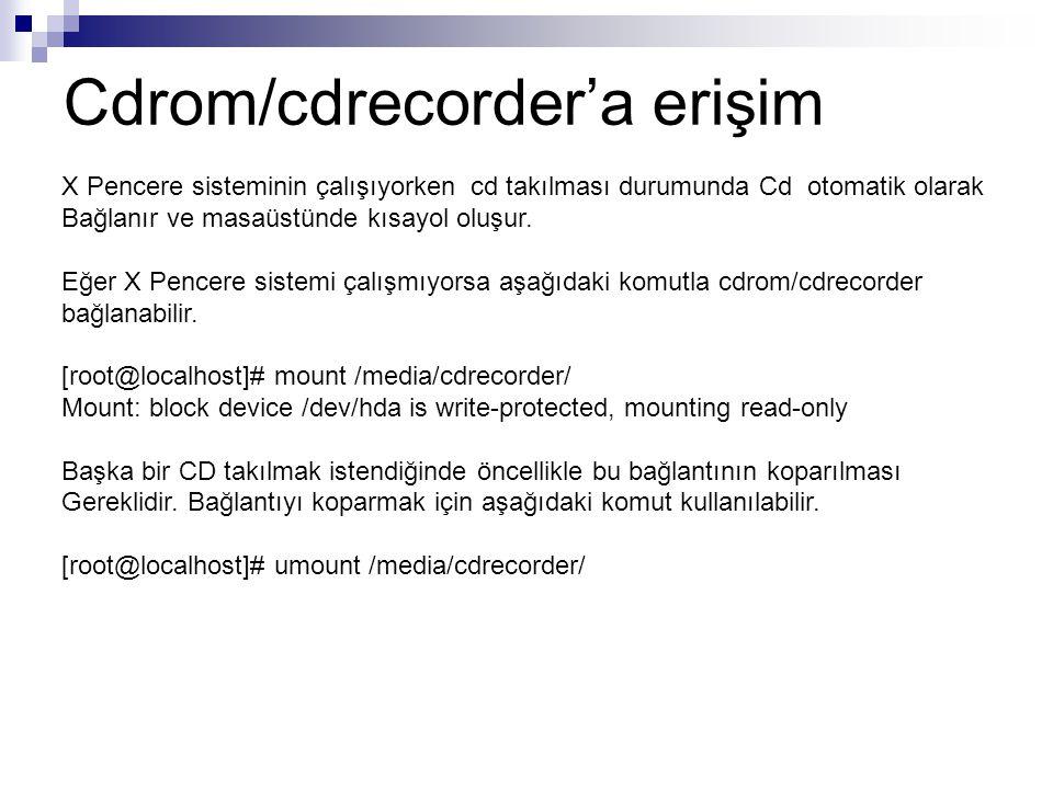 Cdrom/cdrecorder'a erişim X Pencere sisteminin çalışıyorken cd takılması durumunda Cd otomatik olarak Bağlanır ve masaüstünde kısayol oluşur.