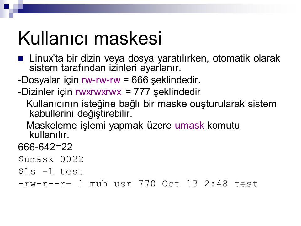 Kullanıcı maskesi  Linux'ta bir dizin veya dosya yaratılırken, otomatik olarak sistem tarafından izinleri ayarlanır.