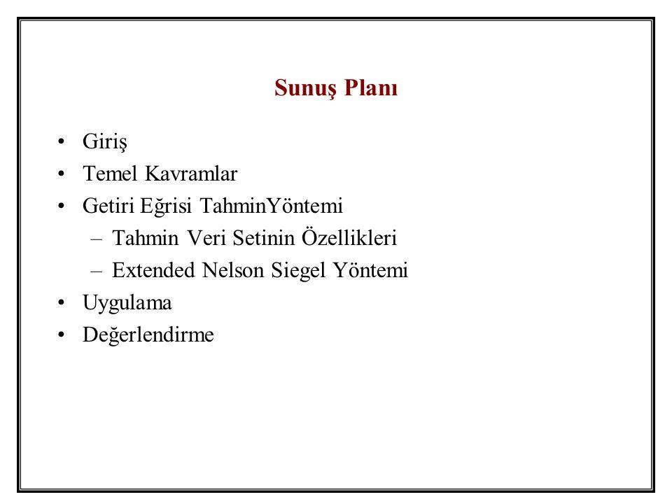 Giriş •Getiri eğrisi: Vade-getiri uzayında noktaları birleştirme işi •Getiri eğrileri merkez bankacılığının temel taşlarındandır –Türkiye bono piyasası, nihayet, düzenli olarak getiri eğrisi hesaplanacak kadar gelişti