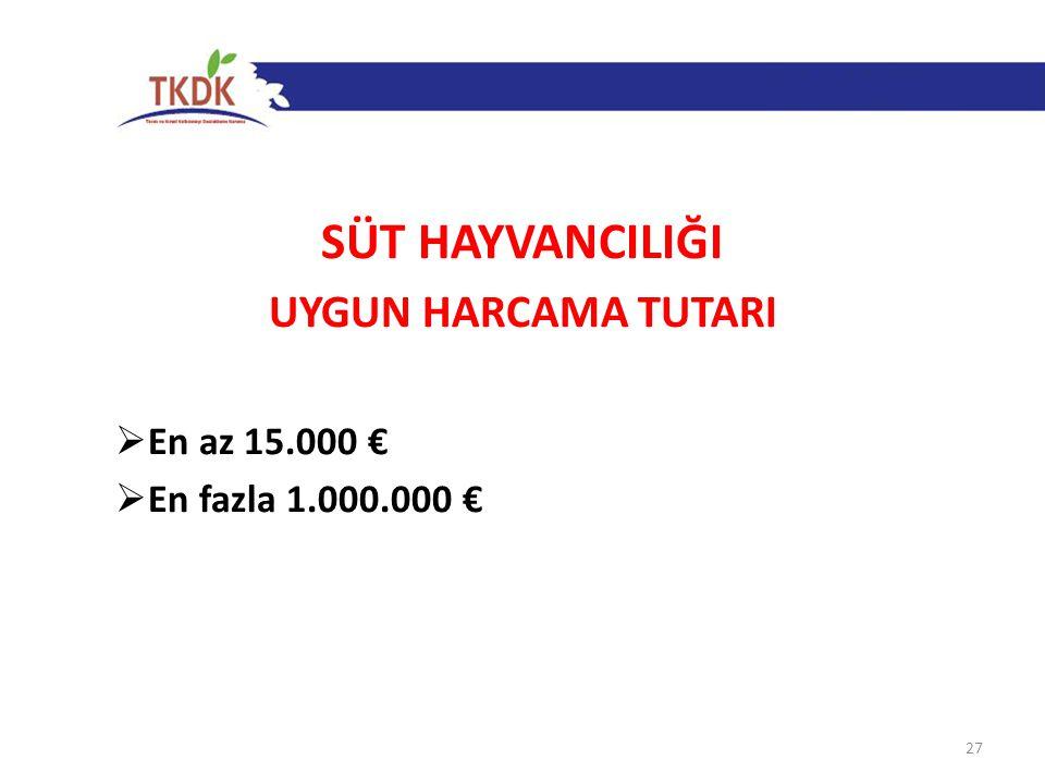 SÜT HAYVANCILIĞI UYGUN HARCAMA TUTARI  En az 15.000 €  En fazla 1.000.000 € 27