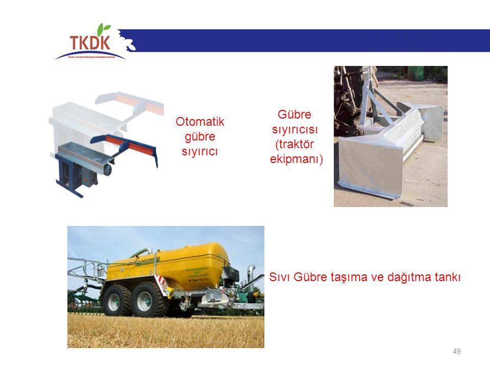 49 Otomatik gübre sıyırıcı Gübre sıyırıcısı (traktör ekipmanı) Sıvı Gübre taşıma ve dağıtma tankı