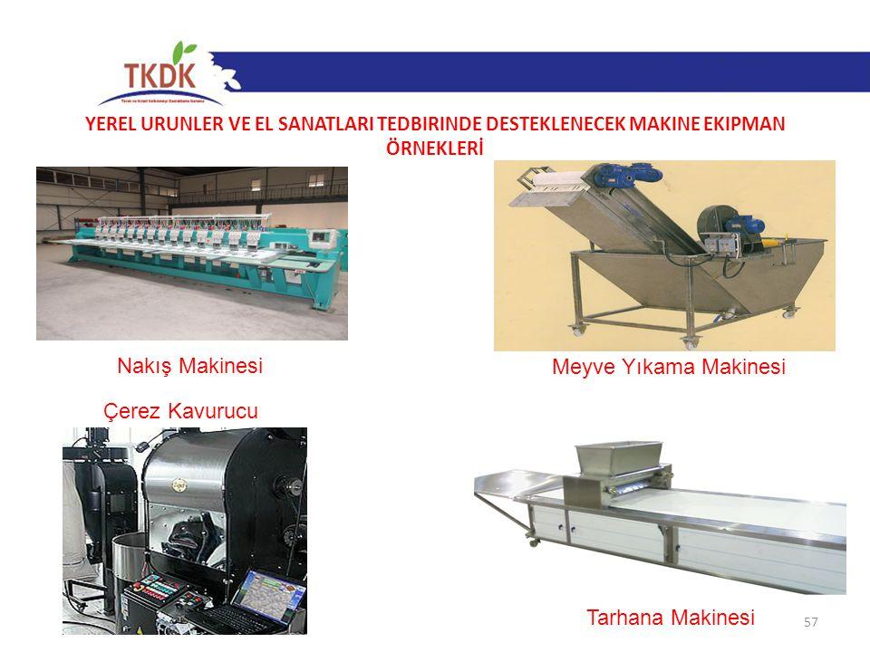 YEREL ÜRÜNLER VE EL SANATLARI TEDBİRİNDE DESTEKLENECEK MAKİNE EKİPMAN ÖRNEKLERİ 57 Nakış Makinesi Meyve Yıkama Makinesi Çerez Kavurucu Tarhana Makines