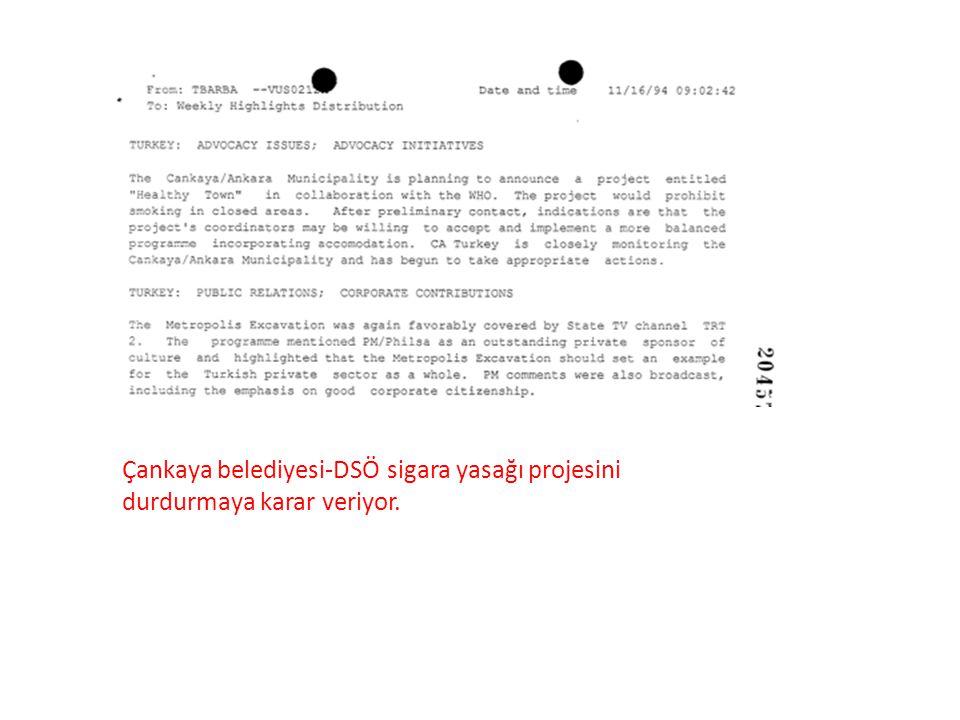 Çankaya belediyesi-DSÖ sigara yasağı projesini durdurmaya karar veriyor.