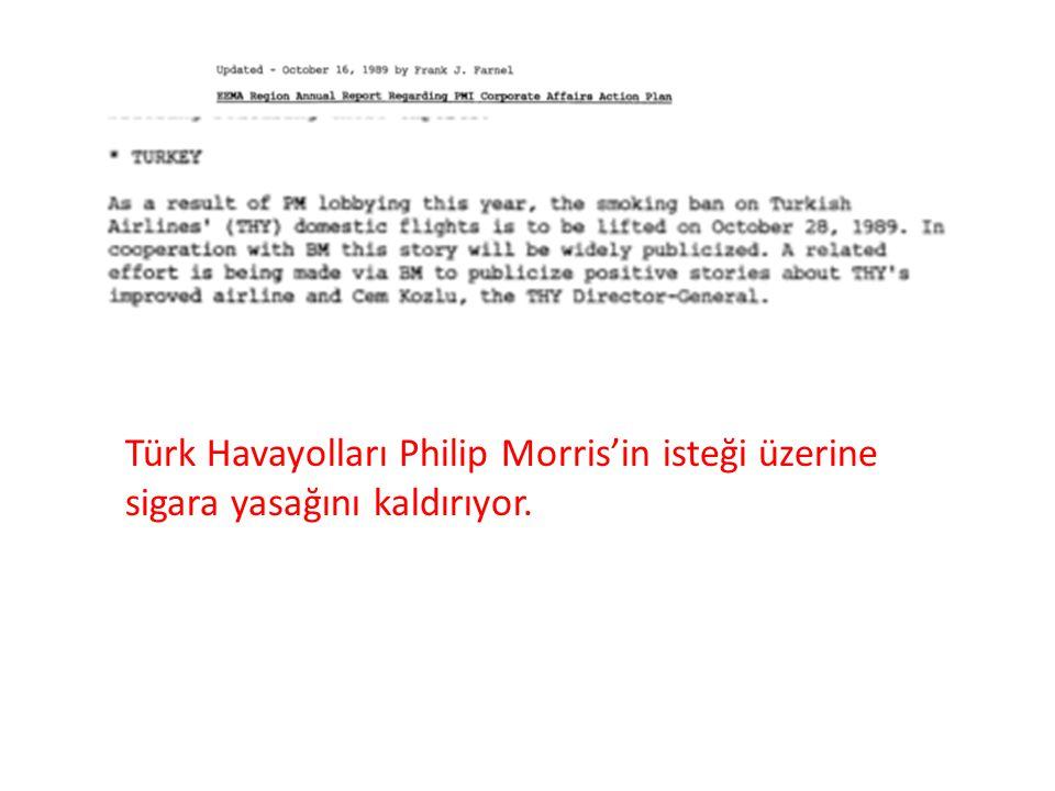 Türk Havayolları Philip Morris'in isteği üzerine sigara yasağını kaldırıyor.