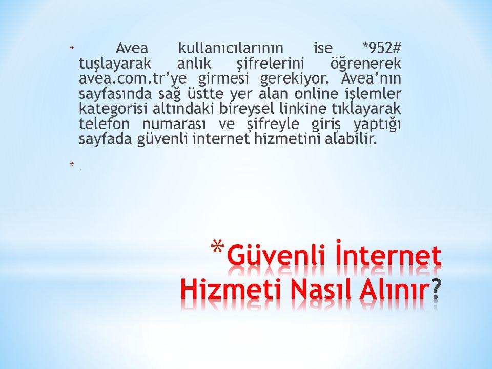 * Avea kullanıcılarının ise *952# tuşlayarak anlık şifrelerini öğrenerek avea.com.tr'ye girmesi gerekiyor. Avea'nın sayfasında sağ üstte yer alan onli