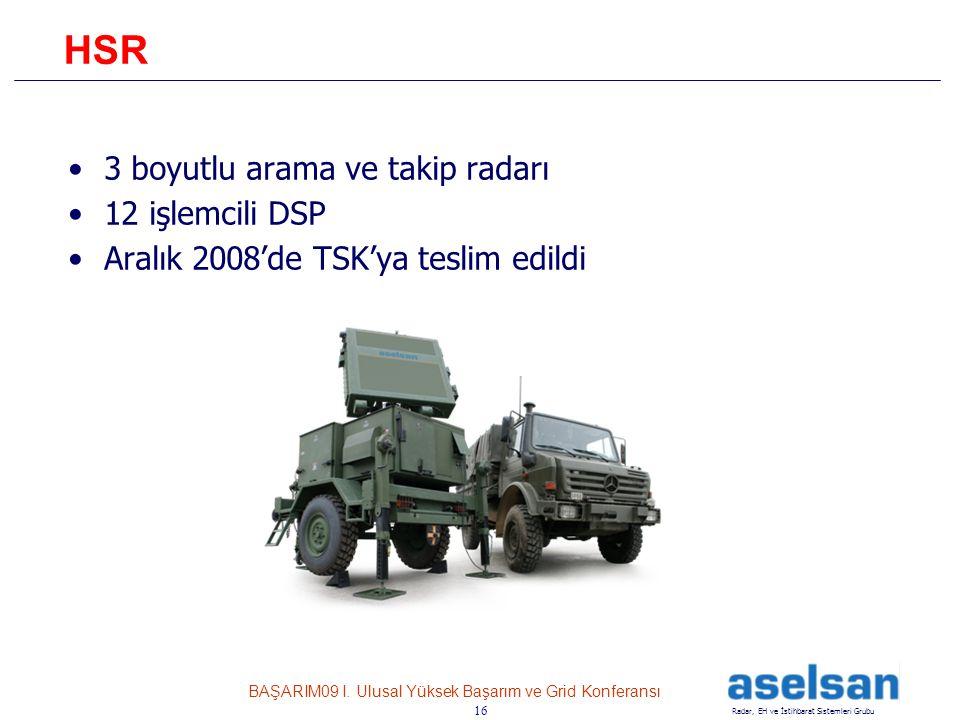 16 Radar, EH ve İstihbarat Sistemleri Grubu BAŞARIM09 I. Ulusal Yüksek Başarım ve Grid Konferansı 16 HSR •3 boyutlu arama ve takip radarı •12 işlemcil