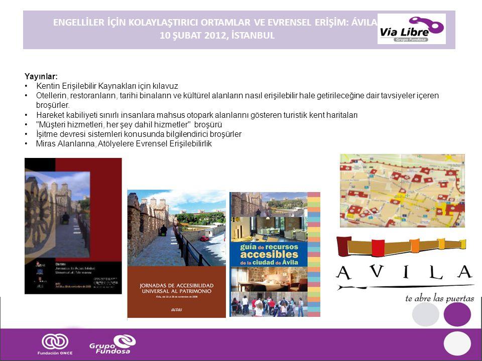 Yayınlar: •Kentin Erişilebilir Kaynakları için kılavuz •Otellerin, restoranların, tarihi binaların ve kültürel alanların nasıl erişilebilir hale getir