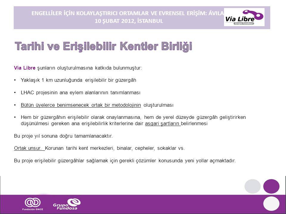 ENGELLİLER İÇİN KOLAYLAŞTIRICI ORTAMLAR VE EVRENSEL ERİŞİM: ÁVILA. 10 ŞUBAT 2012, İSTANBUL Vía Libre şunların oluşturulmasına katkıda bulunmuştur: •Ya
