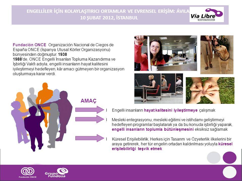 ENGELLİLER İÇİN KOLAYLAŞTIRICI ORTAMLAR VE EVRENSEL ERİŞİM: ÁVILA. 10 ŞUBAT 2012, İSTANBUL Fundación ONCE Organización Nacional de Ciegos de España ON