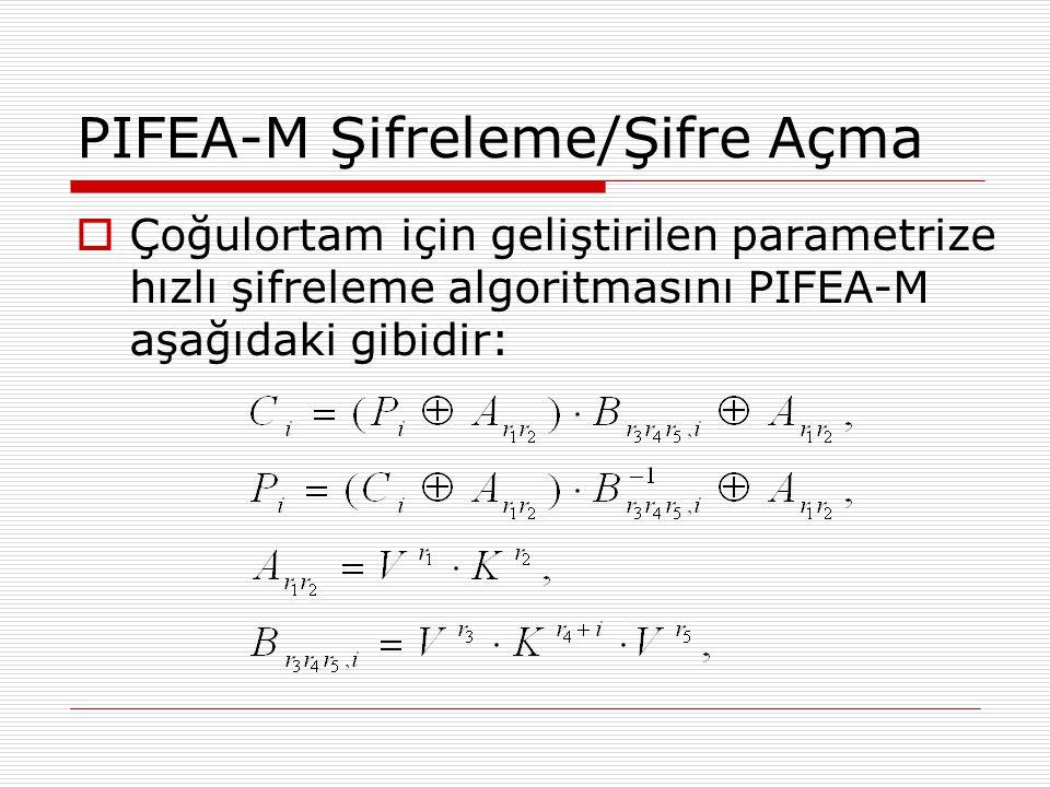 PIFEA-M Şifreleme/Şifre Açma  Çoğulortam için geliştirilen parametrize hızlı şifreleme algoritmasını PIFEA-M aşağıdaki gibidir:
