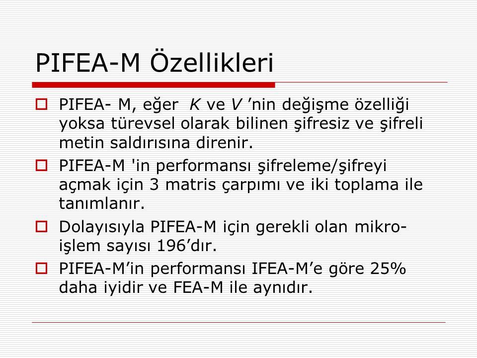 PIFEA-M Özellikleri  PIFEA- M, eğer K ve V 'nin değişme özelliği yoksa türevsel olarak bilinen şifresiz ve şifreli metin saldırısına direnir.