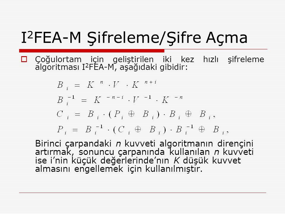 I 2 FEA-M Şifreleme/Şifre Açma  Çoğulortam için geliştirilen iki kez hızlı şifreleme algoritması I 2 FEA-M, aşağıdaki gibidir: Birinci çarpandaki n kuvveti algoritmanın dirençini artırmak, sonuncu çarpanında kullanılan n kuvveti ise i'nin küçük değerlerinde'nın K düşük kuvvet almasını engellemek için kullanılmıştır.