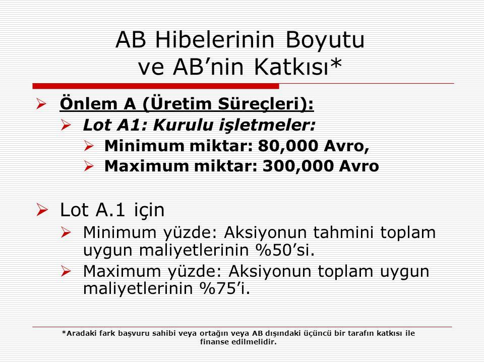AB Hibelerinin Boyutu ve AB'nin Katkısı  Lot A2: Yeni başlayanlar:  Minimum miktar: 10,000 Avro;  Maximum miktar: 20,000 Avro.