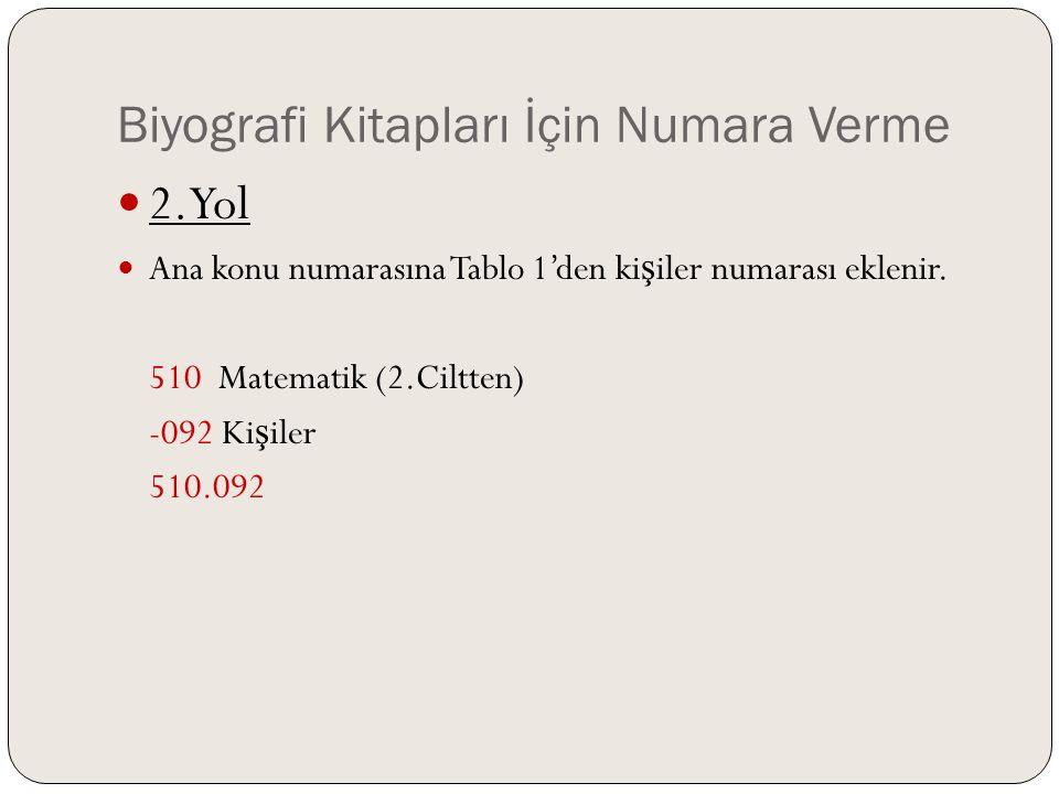 Biyografi Kitapları İçin Numara Verme  2.Yol  Ana konu numarasına Tablo 1'den ki ş iler numarası eklenir. 510 Matematik (2.Ciltten) -092 Ki ş iler 5