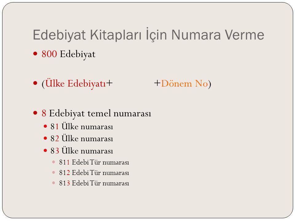 Edebiyat Kitapları İçin Numara Verme  Ülke edebiyatları DOS'ta her ülkenin edebiyatları 10'a bölünmü ş tür.