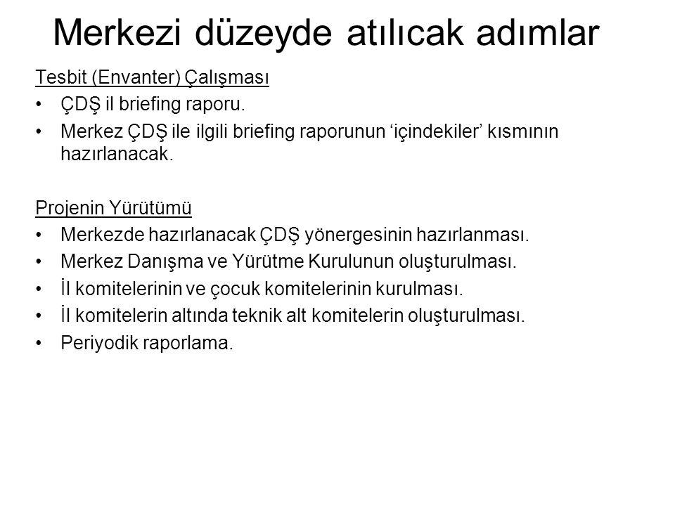 Merkezi düzeyde atılıcak adımlar Tesbit (Envanter) Çalışması •ÇDŞ il briefing raporu.