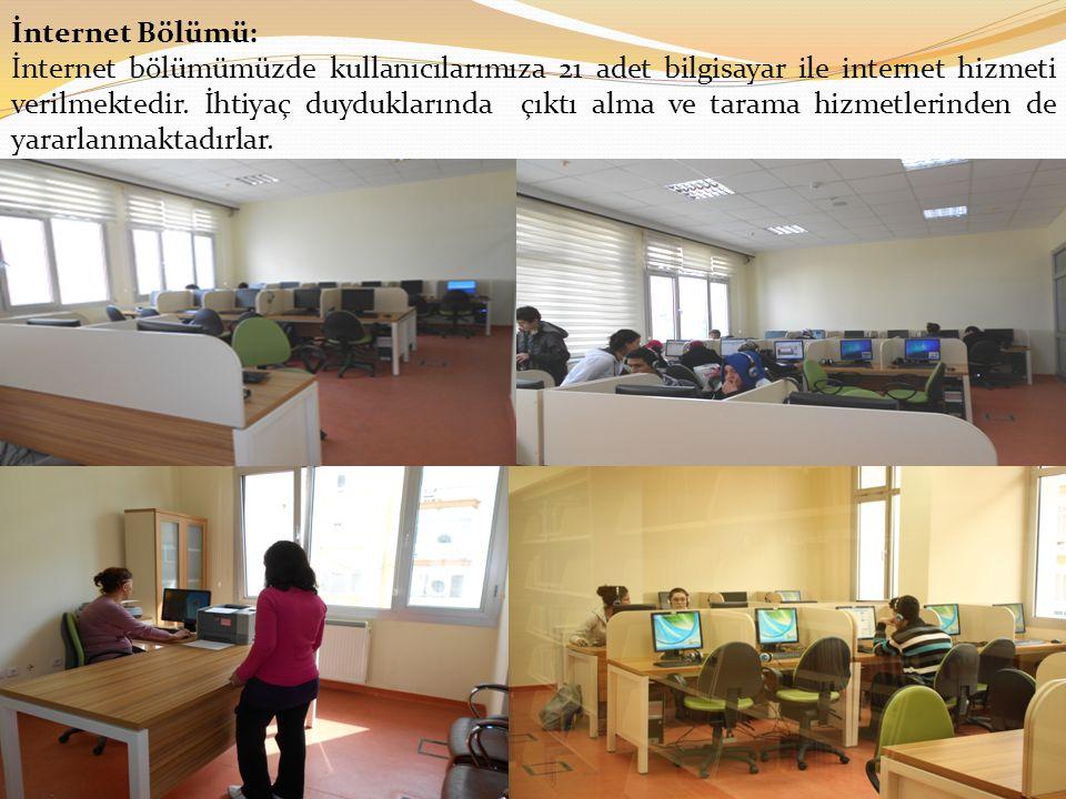 İnternet Bölümü: İnternet bölümümüzde kullanıcılarımıza 21 adet bilgisayar ile internet hizmeti verilmektedir.