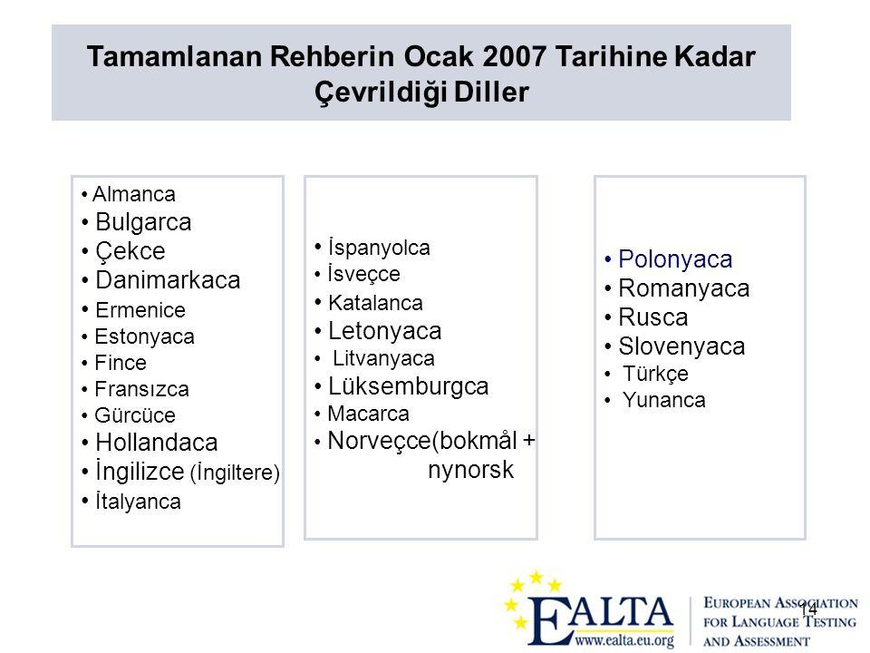 14 • Almanca • Bulgarca • Çekce • Danimarkaca • Ermenice • Estonyaca • Fince • Fransızca • Gürcüce • Hollandaca • İngilizce (İngiltere) • İtalyanca •