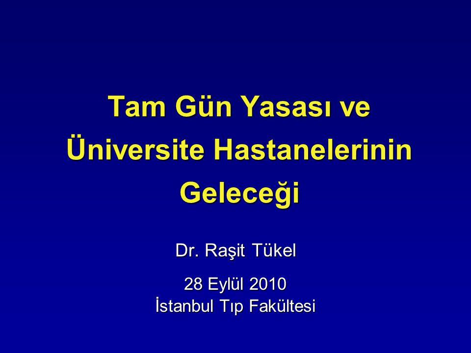 Tam Gün Yasası ve Üniversite Hastanelerinin Geleceği Dr. Raşit Tükel 28 Eylül 2010 İstanbul Tıp Fakültesi