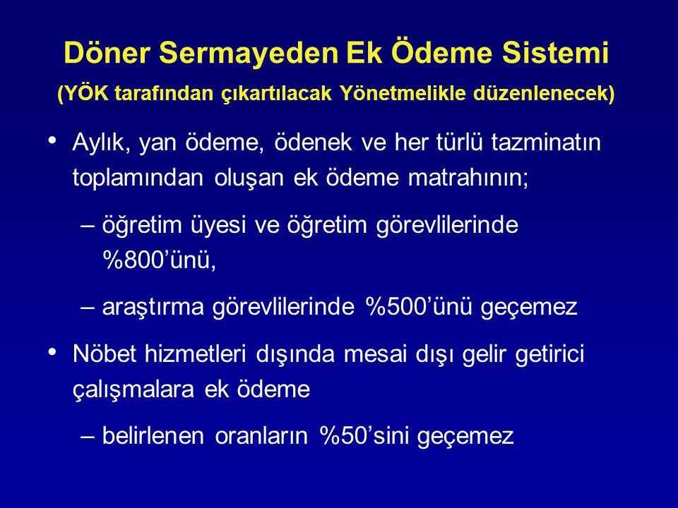 Döner Sermayeden Ek Ödeme Sistemi (YÖK tarafından çıkartılacak Yönetmelikle düzenlenecek) • Aylık, yan ödeme, ödenek ve her türlü tazminatın toplamından oluşan ek ödeme matrahının; –öğretim üyesi ve öğretim görevlilerinde %800'ünü, –araştırma görevlilerinde %500'ünü geçemez • Nöbet hizmetleri dışında mesai dışı gelir getirici çalışmalara ek ödeme –belirlenen oranların %50'sini geçemez