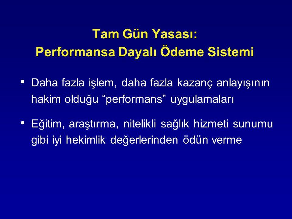 """Tam Gün Yasası: Performansa Dayalı Ödeme Sistemi • Daha fazla işlem, daha fazla kazanç anlayışının hakim olduğu """"performans"""" uygulamaları • Eğitim, ar"""
