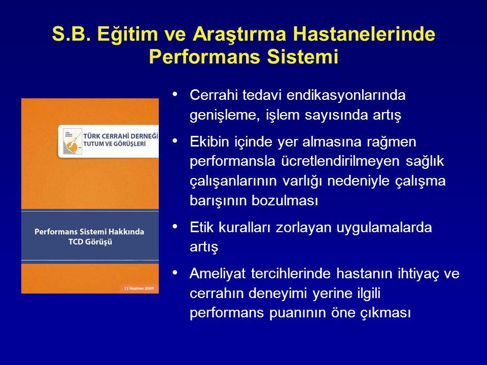 • Cerrahi tedavi endikasyonlarında genişleme, işlem sayısında artış • Ekibin içinde yer almasına rağmen performansla ücretlendirilmeyen sağlık çalışan