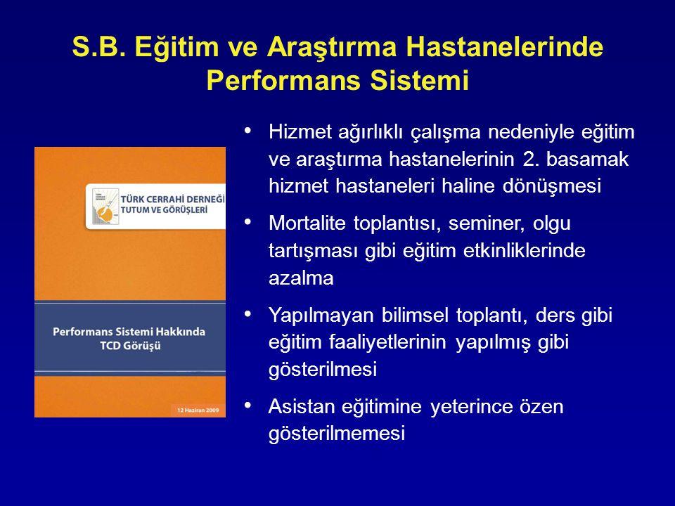 • Hizmet ağırlıklı çalışma nedeniyle eğitim ve araştırma hastanelerinin 2. basamak hizmet hastaneleri haline dönüşmesi • Mortalite toplantısı, seminer