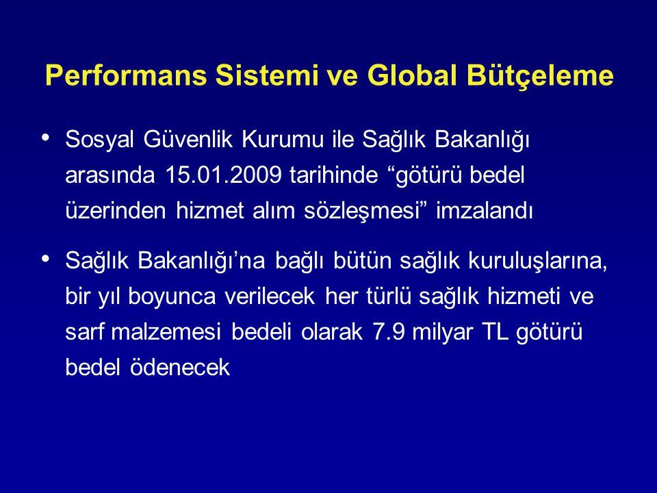 """Performans Sistemi ve Global Bütçeleme • Sosyal Güvenlik Kurumu ile Sağlık Bakanlığı arasında 15.01.2009 tarihinde """"götürü bedel üzerinden hizmet alım"""