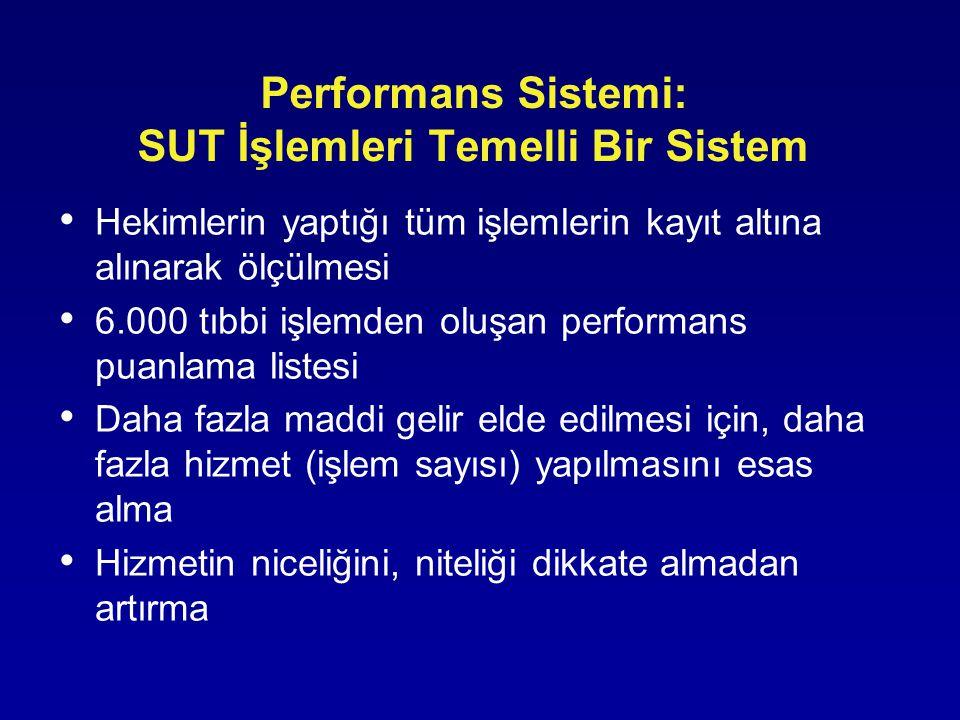 Performans Sistemi: SUT İşlemleri Temelli Bir Sistem • Hekimlerin yaptığı tüm işlemlerin kayıt altına alınarak ölçülmesi • 6.000 tıbbi işlemden oluşan
