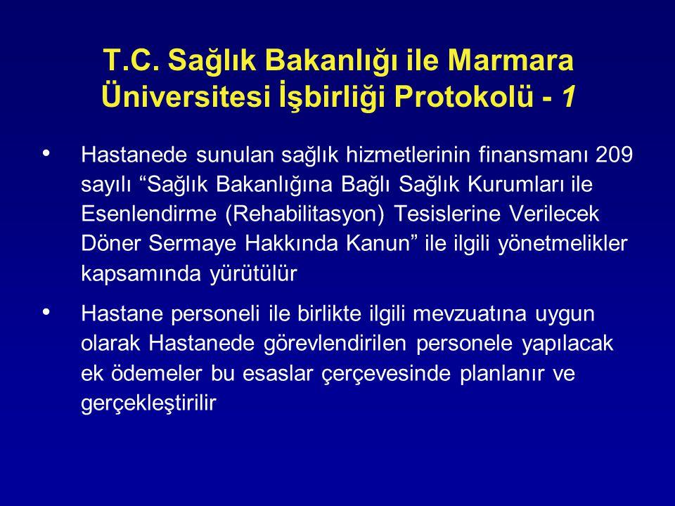 """T.C. Sağlık Bakanlığı ile Marmara Üniversitesi İşbirliği Protokolü - 1 • Hastanede sunulan sağlık hizmetlerinin finansmanı 209 sayılı """"Sağlık Bakanlığ"""