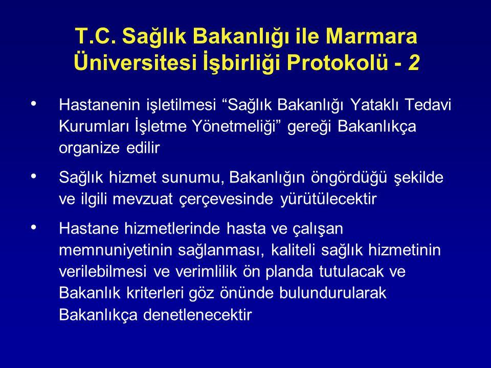 """T.C. Sağlık Bakanlığı ile Marmara Üniversitesi İşbirliği Protokolü - 2 • Hastanenin işletilmesi """"Sağlık Bakanlığı Yataklı Tedavi Kurumları İşletme Yön"""