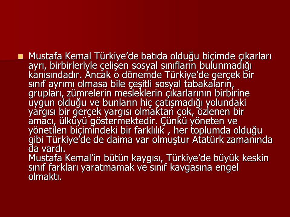  Mustafa Kemal Türkiye'de batıda olduğu biçimde çıkarları ayrı, birbirleriyle çelişen sosyal sınıfların bulunmadığı kanısındadır. Ancak o dönemde Tür