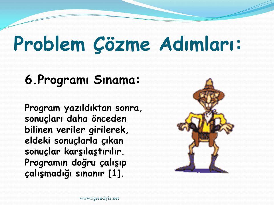Problem Çözme Adımları: 6.Programı Sınama: Program yazıldıktan sonra, sonuçları daha önceden bilinen veriler girilerek, eldeki sonuçlarla çıkan sonuçlar karşılaştırılır.