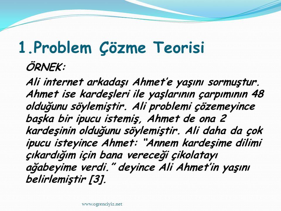 1.Problem Çözme Teorisi ÖRNEK: Ali internet arkadaşı Ahmet'e yaşını sormuştur.
