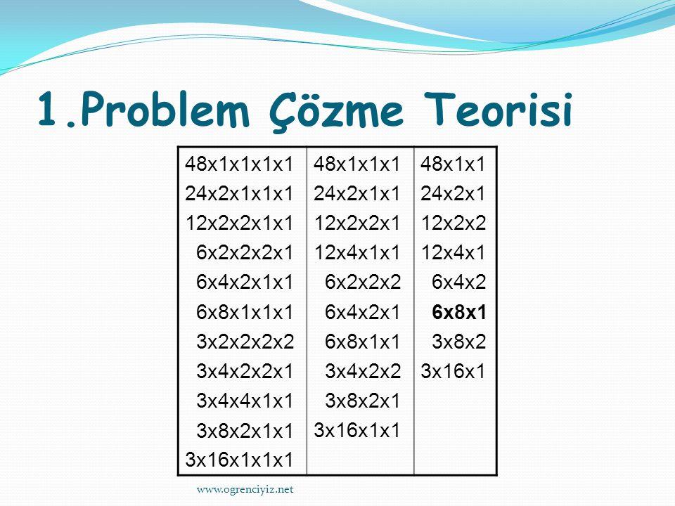 1.Problem Çözme Teorisi 48x1x1x1x1 24x2x1x1x1 12x2x2x1x1 6x2x2x2x1 6x4x2x1x1 6x8x1x1x1 3x2x2x2x2 3x4x2x2x1 3x4x4x1x1 3x8x2x1x1 3x16x1x1x1 48x1x1x1 24x2x1x1 12x2x2x1 12x4x1x1 6x2x2x2 6x4x2x1 6x8x1x1 3x4x2x2 3x8x2x1 3x16x1x1 48x1x1 24x2x1 12x2x2 12x4x1 6x4x2 6x8x1 3x8x2 3x16x1 www.ogrenciyiz.net