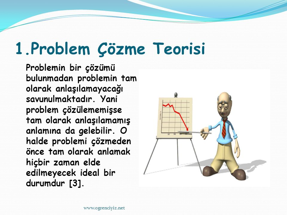 1.Problem Çözme Teorisi Problemin bir çözümü bulunmadan problemin tam olarak anlaşılamayacağı savunulmaktadır.